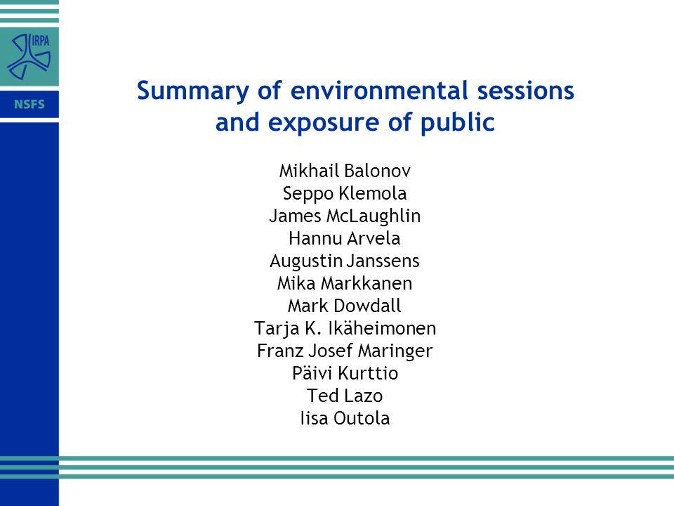 Summary of environmental sessions and exposure of public Mikhail Balonov Seppo Klemola James McLaughlin Hannu Arvela Augustin Janssens Mika Markkanen Mark Dowdall Tarja K.