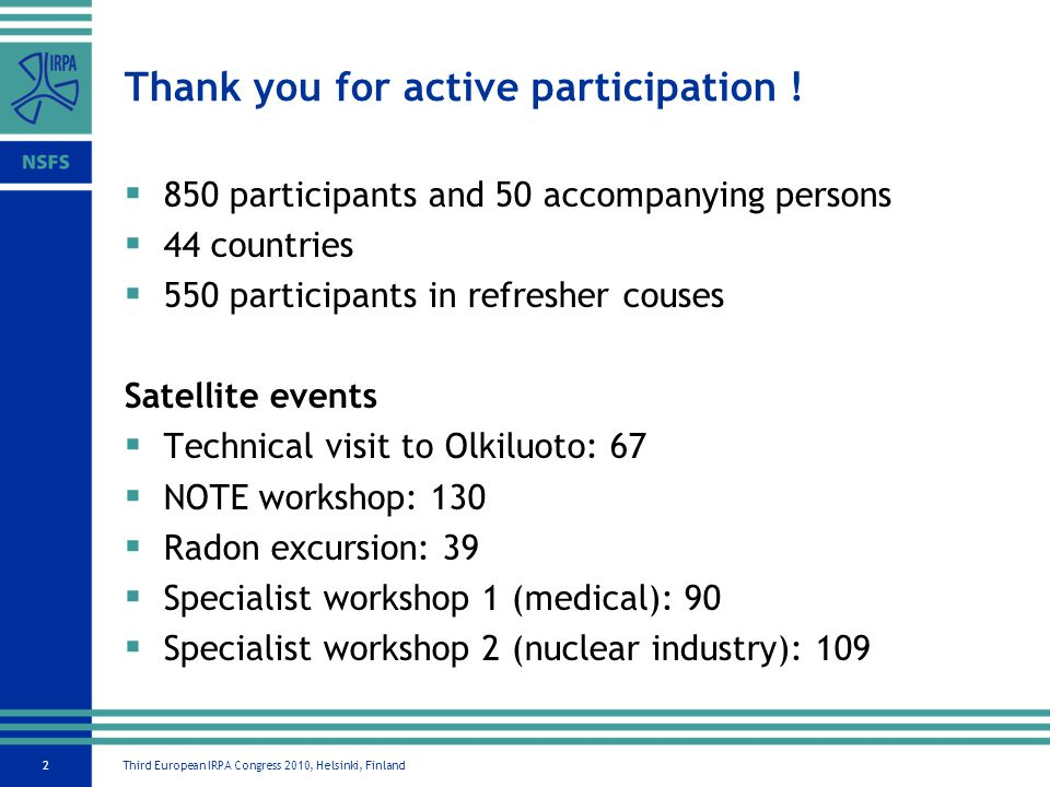 Third European IRPA Congress 2010, Helsinki, Finland2 Thank you for active participation .