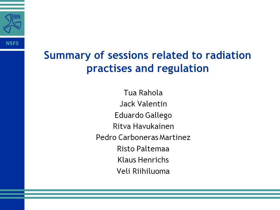 Summary of sessions related to radiation practises and regulation Tua Rahola Jack Valentin Eduardo Gallego Ritva Havukainen Pedro Carboneras Martinez Risto Paltemaa Klaus Henrichs Veli Riihiluoma