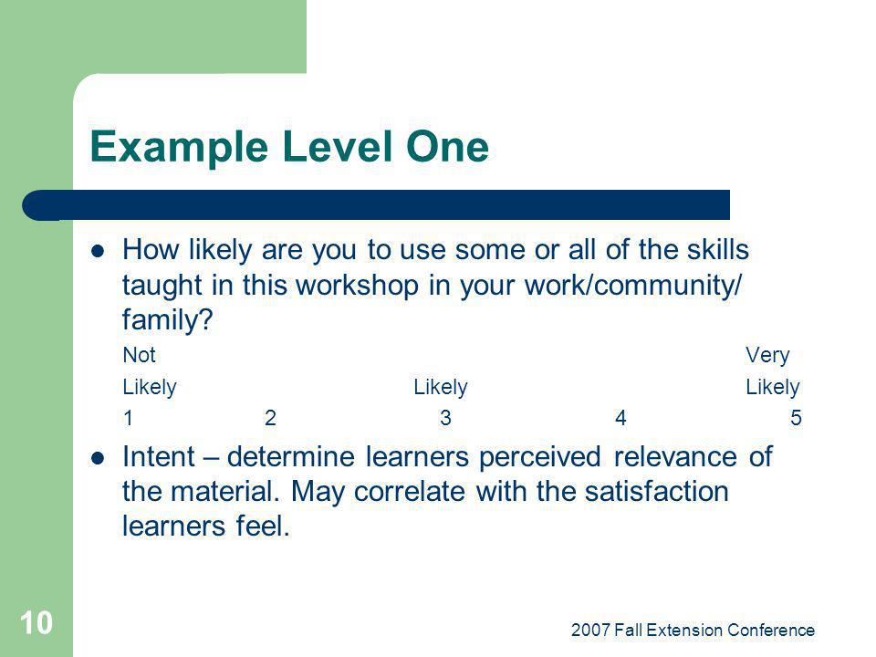 2007 Fall Extension Conference 10 Example Level One How likely are you to use some or all of the skills taught in this workshop in your work/community