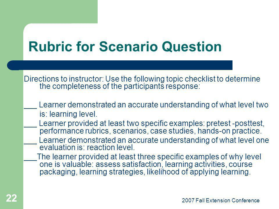 2007 Fall Extension Conference 22 Rubric for Scenario Question Directions to instructor: Use the following topic checklist to determine the completene