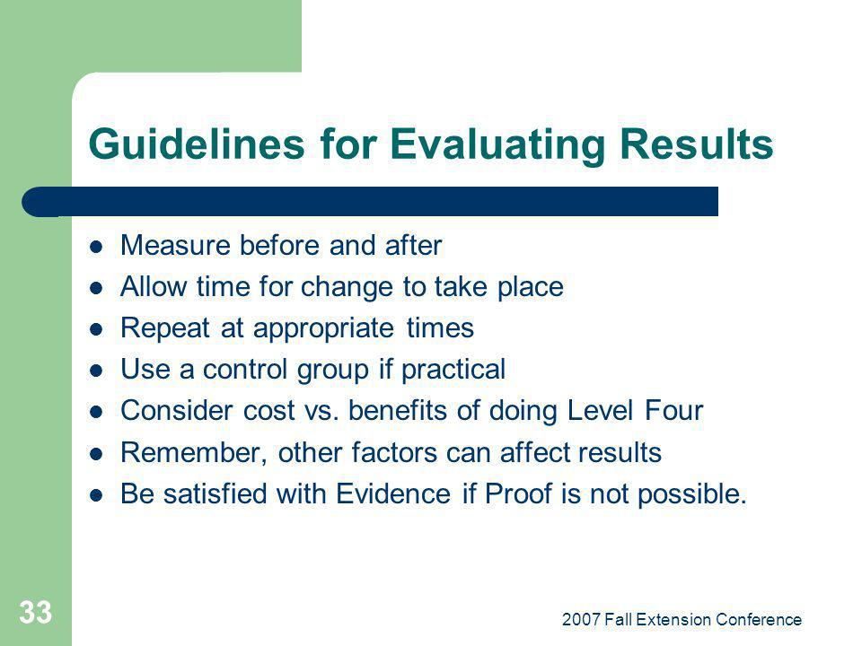 2007 Fall Extension Conference 33 Guidelines for Evaluating Results Measure before and after Allow time for change to take place Repeat at appropriate times Use a control group if practical Consider cost vs.
