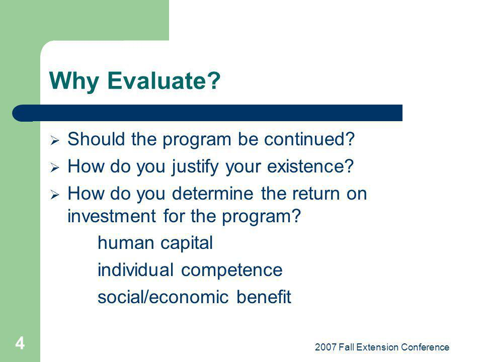 2007 Fall Extension Conference 4 Why Evaluate? Should the program be continued? How do you justify your existence? How do you determine the return on