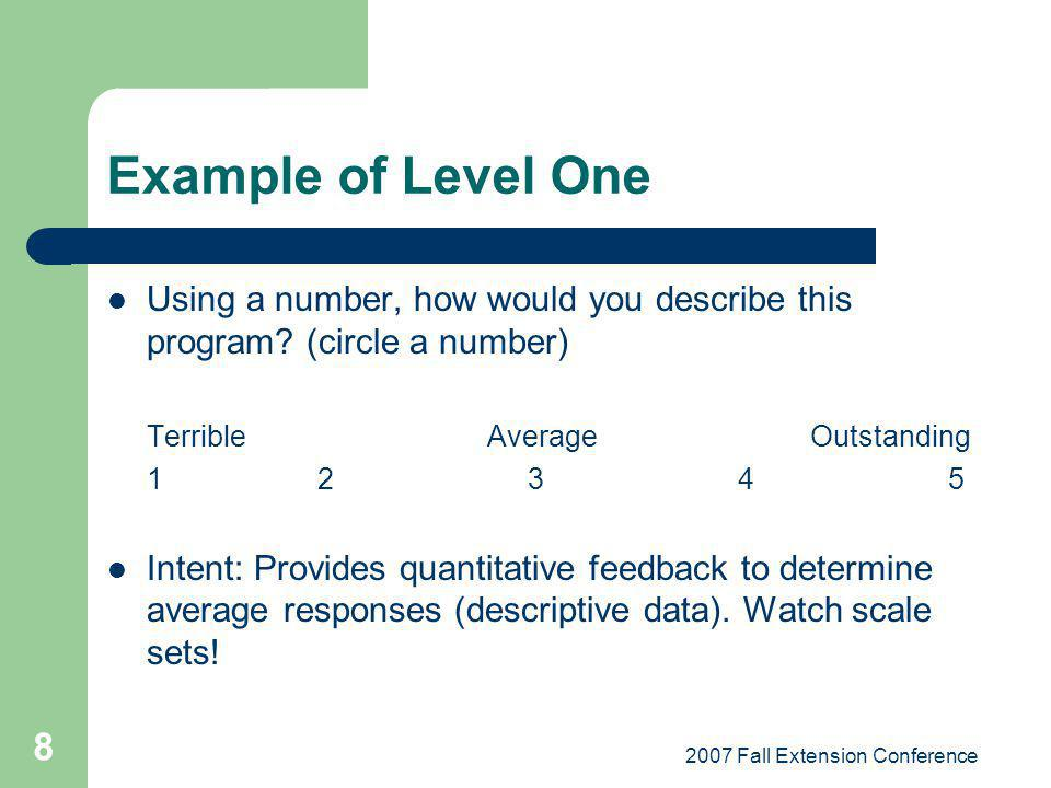 2007 Fall Extension Conference 8 Example of Level One Using a number, how would you describe this program? (circle a number) Terrible Average Outstand