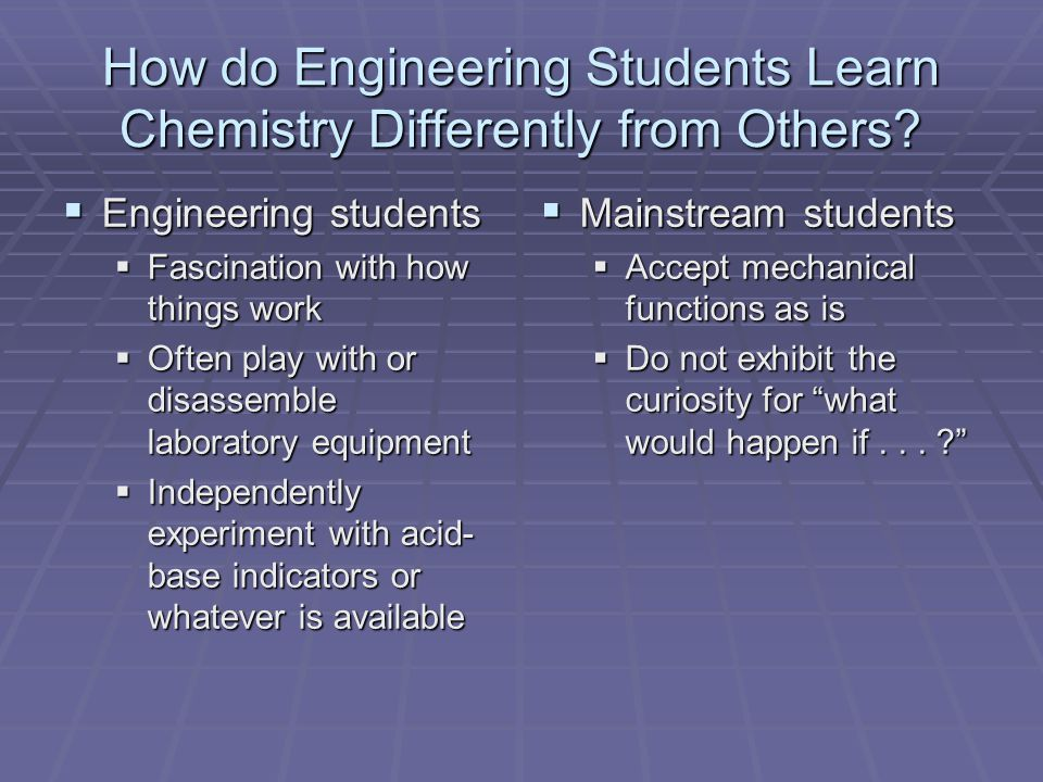 How do Engineering Students Learn Chemistry Differently from Others.