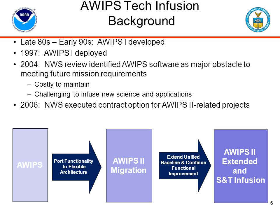 7 AWIPS Tech Infusion Background AWIPS II Migration: Migrate current AWIPS functionalities to a Service Oriented Architecture (SOA) –Improve maintainability and stability via streamlined, extensible software –Reduce time to transition from 18 months to 9 months –Reduce software development time for new products by 50% –Increase software release frequency from 2 to 4 per year AWIPS II Extended: Implement on-going pre-planned, major infrastructure enhancements –Extend AWIPS II architecture to the entire NWS weather enterprise Enables more seamless product suite among NWS operational centers, e.g., National Centers, WFOs Improves efficiencies in developing new capabilities that can be used across the NWS weather enterprise –Implement system-wide infrastructure enhancements Smart Push/Pull technologies to enable AWIPS to handle increased data volumes associated with major agency initiatives, e.g., GOES-R, Higher resolution models, etc.