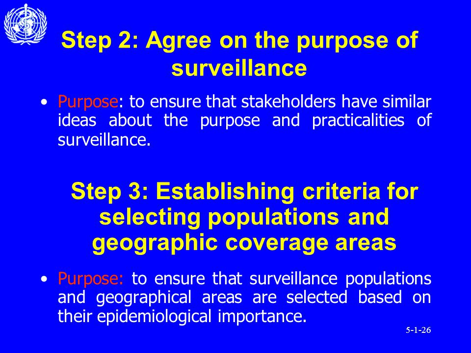5-1-26 Step 2: Agree on the purpose of surveillance Purpose: to ensure that stakeholders have similar ideas about the purpose and practicalities of surveillance.