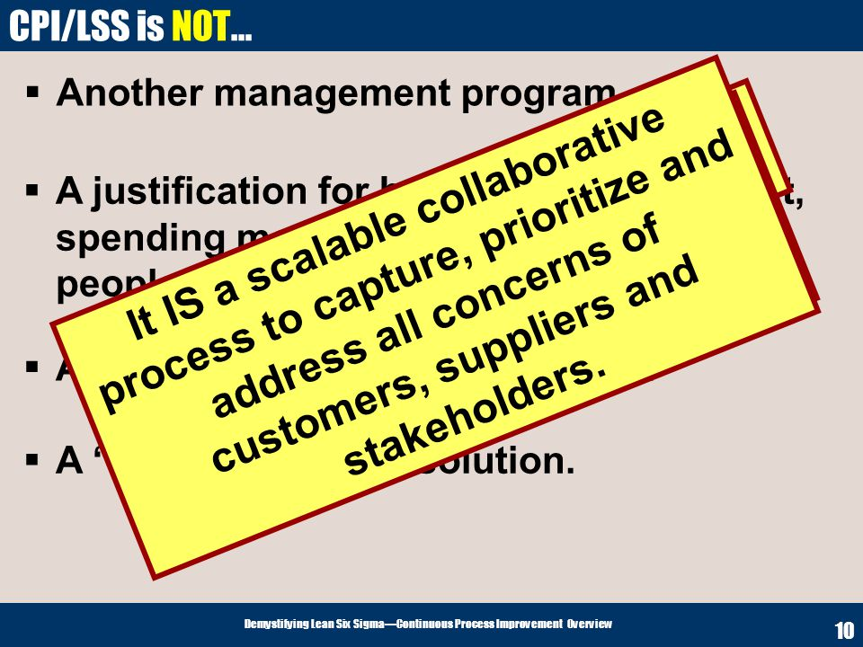 Demystifying Lean Six SigmaContinuous Process Improvement Overview 10 CPI/LSS is NOT… Another management program. A justification for buying new equip