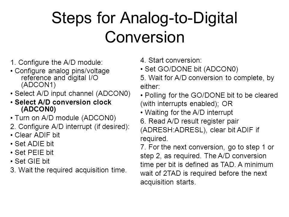 Steps for Analog-to-Digital Conversion 1.
