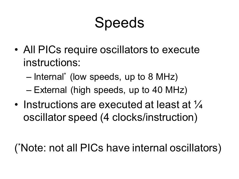 Speeds All PICs require oscillators to execute instructions: –Internal * (low speeds, up to 8 MHz) –External (high speeds, up to 40 MHz) Instructions are executed at least at ¼ oscillator speed (4 clocks/instruction) ( * Note: not all PICs have internal oscillators)