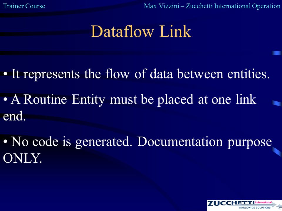 Trainer CourseMax Vizzini – Zucchetti International Operation Dataflow Link It represents the flow of data between entities.