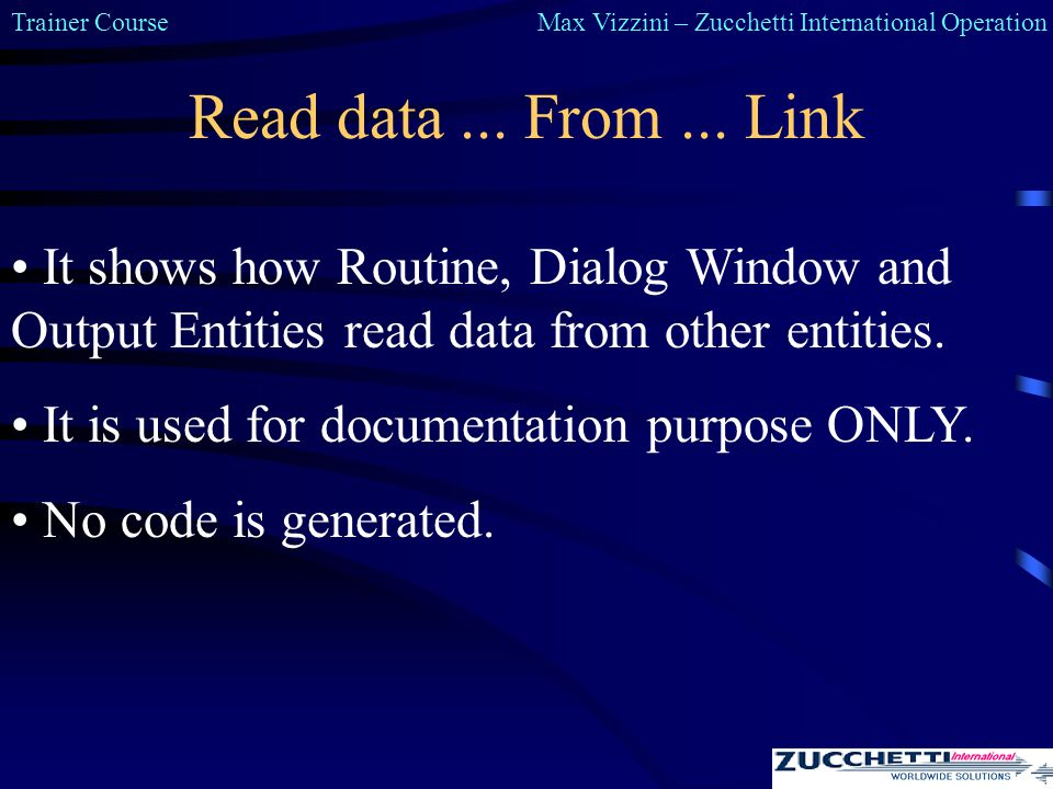 Trainer CourseMax Vizzini – Zucchetti International Operation Read data...