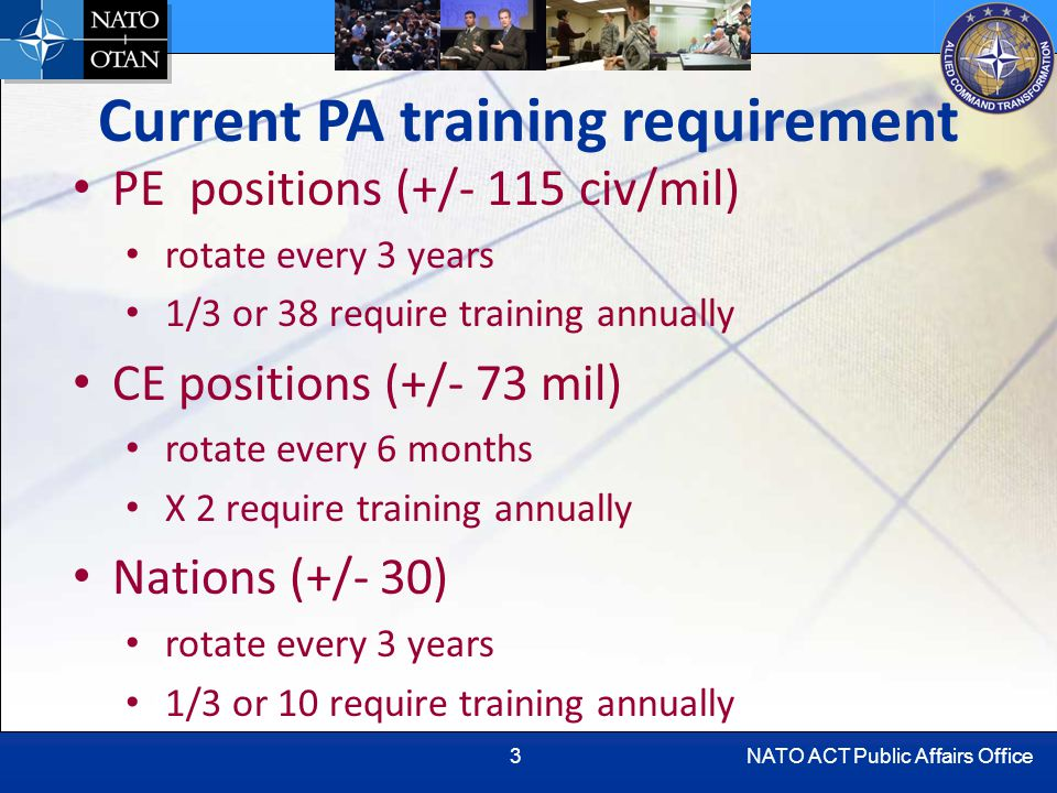 NATO ACT Public Affairs Office3 Current PA training requirement PE positions (+/- 115 civ/mil) rotate every 3 years 1/3 or 38 require training annually CE positions (+/- 73 mil) rotate every 6 months X 2 require training annually Nations (+/- 30) rotate every 3 years 1/3 or 10 require training annually