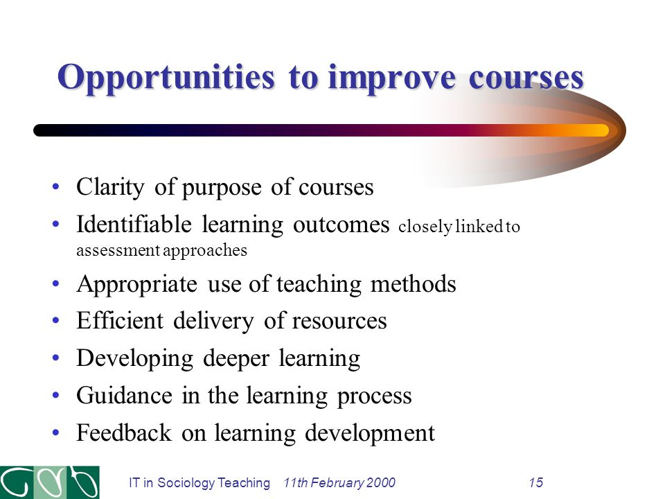 IT in Sociology Teaching 11th February 200015 Opportunities to improve courses Clarity of purpose of courses Identifiable learning outcomes closely linked to assessment approaches Appropriate use of teaching methods Efficient delivery of resources Developing deeper learning Guidance in the learning process Feedback on learning development