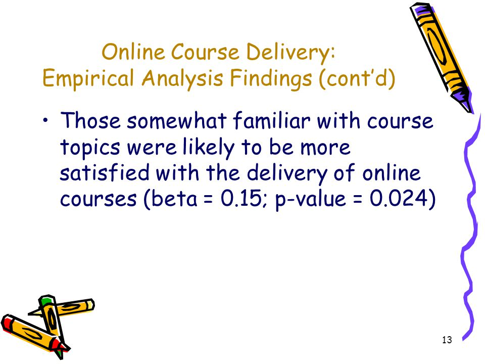 13 Online Course Delivery: Empirical Analysis Findings (contd) Those somewhat familiar with course topics were likely to be more satisfied with the delivery of online courses (beta = 0.15; p-value = 0.024)
