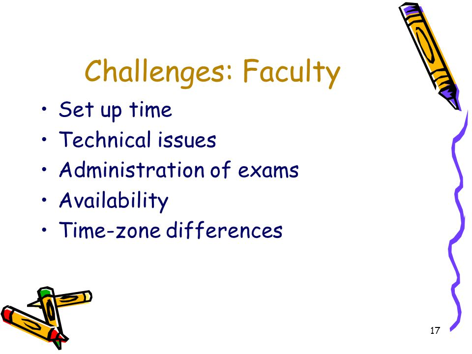 17 Challenges: Faculty Set up time Technical issues Administration of exams Availability Time-zone differences