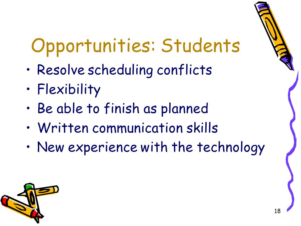 18 Opportunities: Students Resolve scheduling conflicts Flexibility Be able to finish as planned Written communication skills New experience with the technology