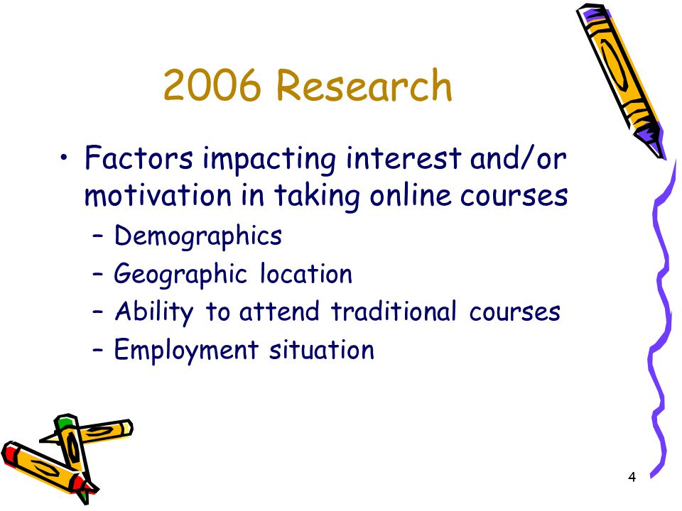 4 2006 Research Factors impacting interest and/or motivation in taking online courses –Demographics –Geographic location –Ability to attend traditional courses –Employment situation