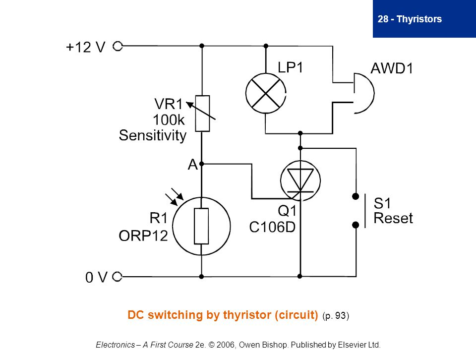 28 - Thyristors Electronics – A First Course 2e. © 2006, Owen Bishop.