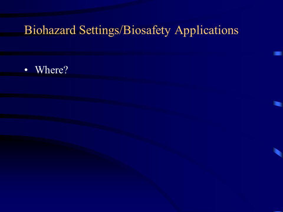Biohazard Settings/Biosafety Applications Where?