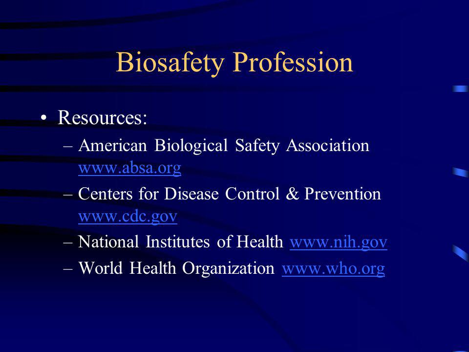Biosafety Profession Resources: –American Biological Safety Association www.absa.org www.absa.org –Centers for Disease Control & Prevention www.cdc.gov www.cdc.gov –National Institutes of Health www.nih.govwww.nih.gov –World Health Organization www.who.orgwww.who.org