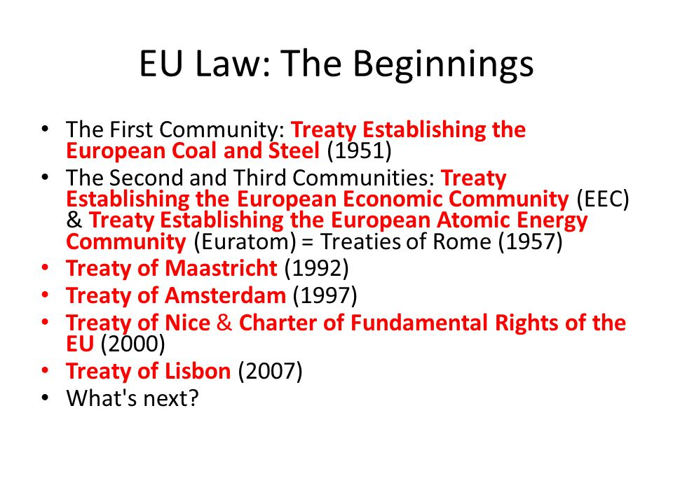 EU Law: The Beginnings The First Community: Treaty Establishing the European Coal and Steel (1951) The Second and Third Communities: Treaty Establishing the European Economic Community (EEC) & Treaty Establishing the European Atomic Energy Community (Euratom) = Treaties of Rome (1957) Treaty of Maastricht (1992) Treaty of Amsterdam (1997) Treaty of Nice & Charter of Fundamental Rights of the EU (2000) Treaty of Lisbon (2007) What s next