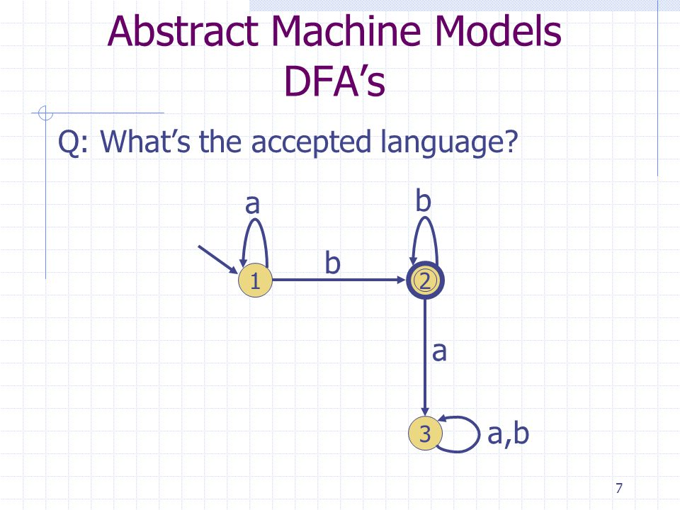7 Abstract Machine Models DFAs Q: Whats the accepted language 1 3 2 a b b a a,b