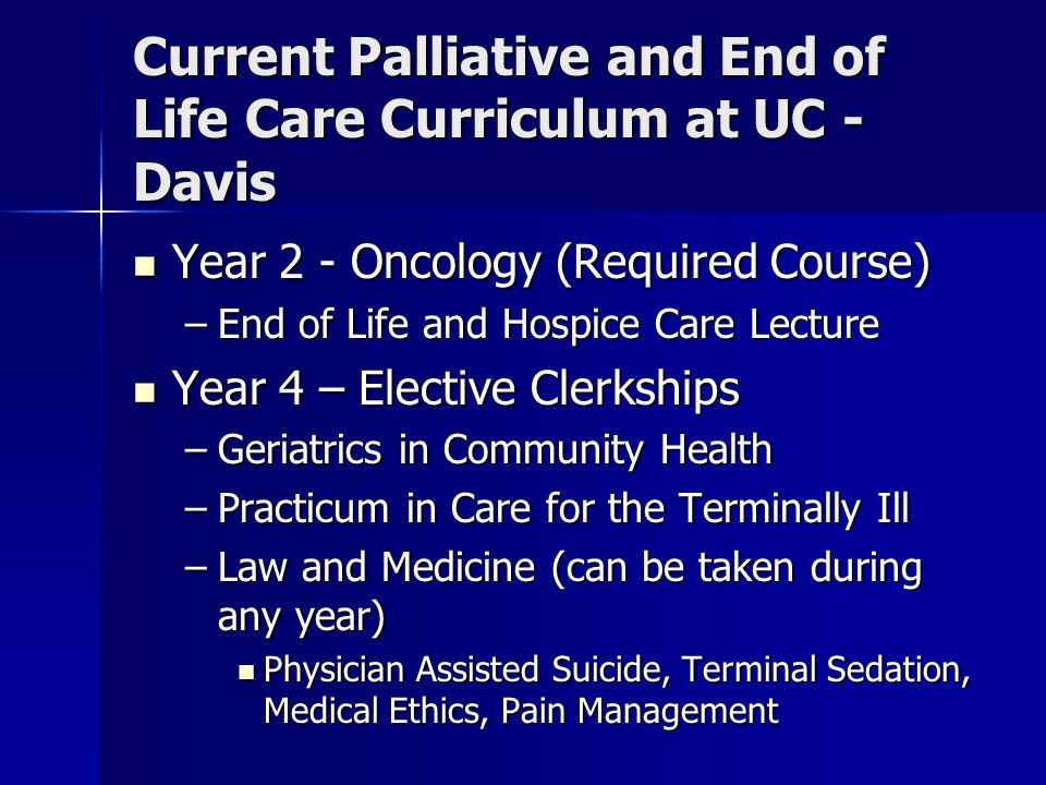 Role of Online Curriculum Provide more focused and comprehensive preparation for caring for patients and families at the end of life Provide more focused and comprehensive preparation for caring for patients and families at the end of life Provide continuity in presentations Provide continuity in presentations Can be integrated into existing curriculum in the 1 st and 2 nd year Can be integrated into existing curriculum in the 1 st and 2 nd year