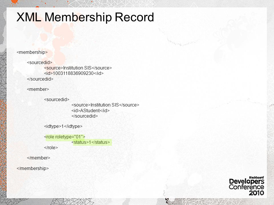 XML Membership Record Institution SIS Institution SIS AStudent 1