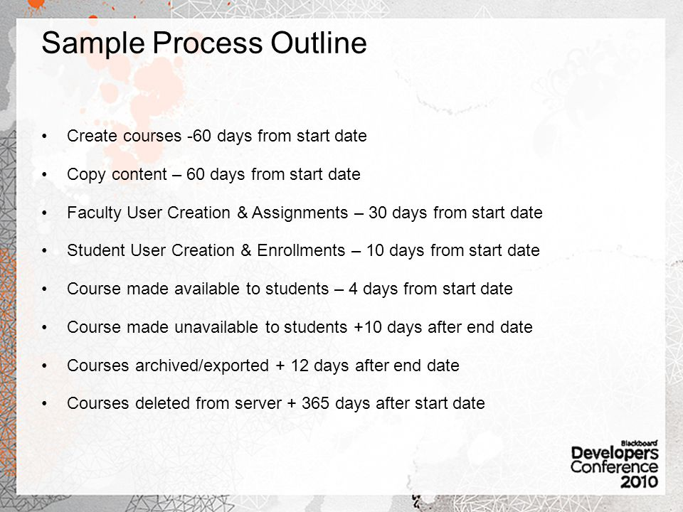 Sample Process Outline Create courses -60 days from start date Copy content – 60 days from start date Faculty User Creation & Assignments – 30 days from start date Student User Creation & Enrollments – 10 days from start date Course made available to students – 4 days from start date Course made unavailable to students +10 days after end date Courses archived/exported + 12 days after end date Courses deleted from server days after start date