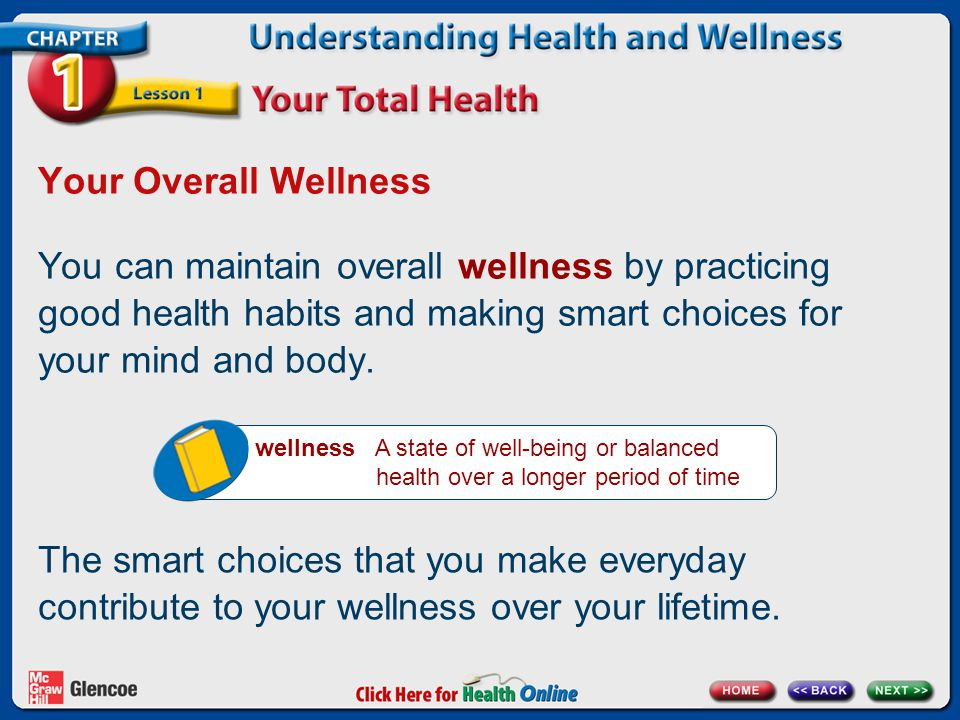 Your Overall Wellness You can maintain overall wellness by practicing good health habits and making smart choices for your mind and body. wellness A s