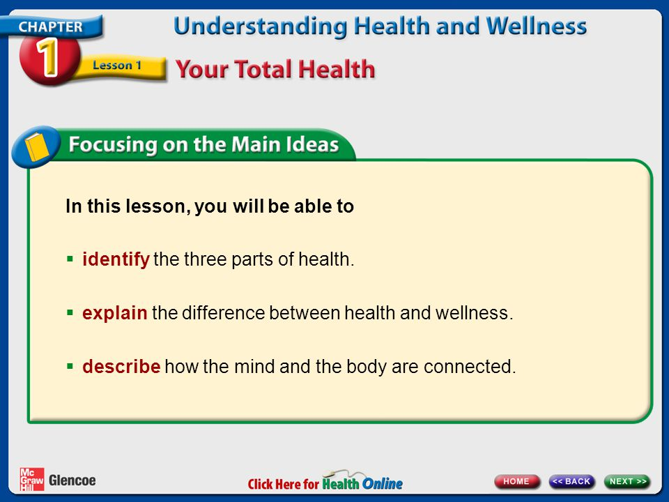 In this lesson, you will be able to identify the three parts of health.