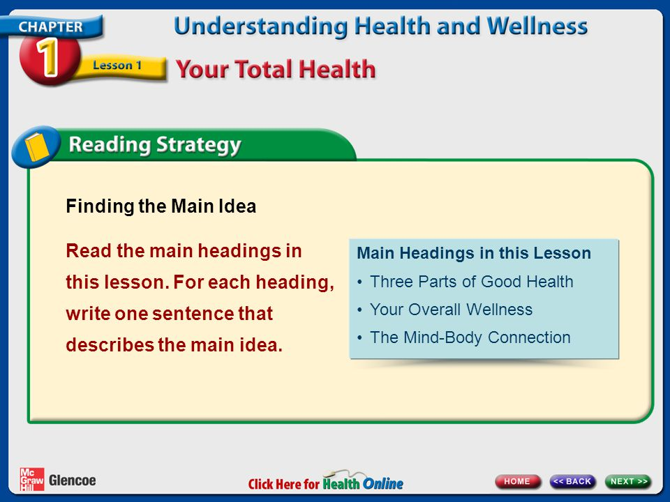 Finding the Main Idea Read the main headings in this lesson.
