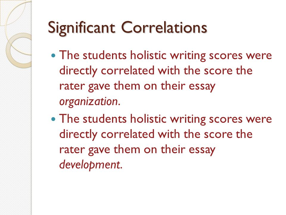 Significant Correlations The students holistic writing scores were directly correlated with the score the rater gave them on their essay organization.