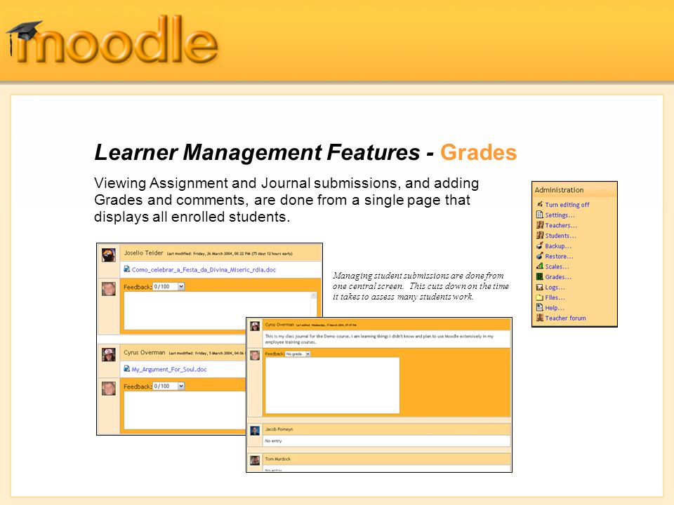 Learner Management Features - Grades Viewing Assignment and Journal submissions, and adding Grades and comments, are done from a single page that displays all enrolled students.