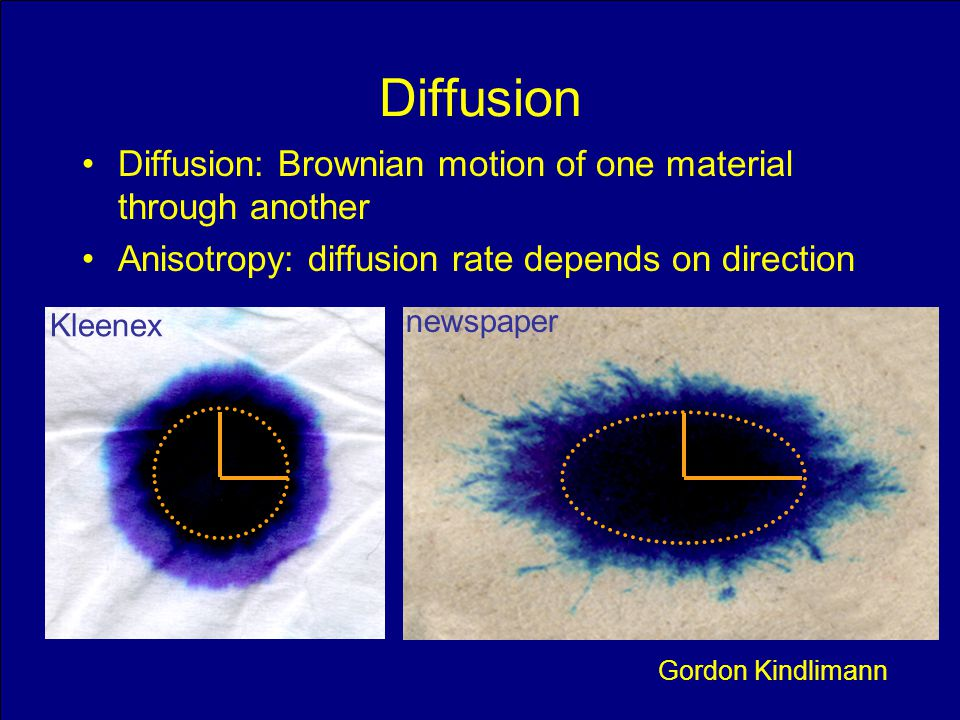 Slide 12 Diffusion Diffusion: Brownian motion of one material through another Anisotropy: diffusion rate depends on direction Gordon Kindlimann Kleene