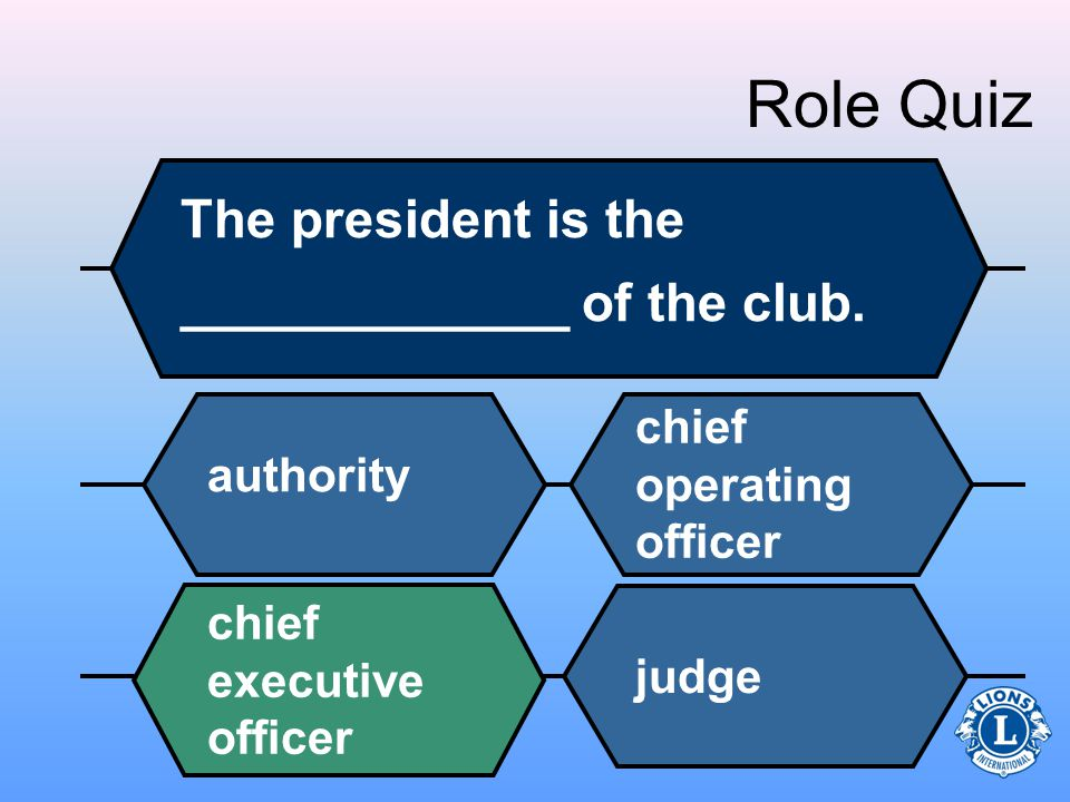 Role Quiz The president is the _____________ of the club.