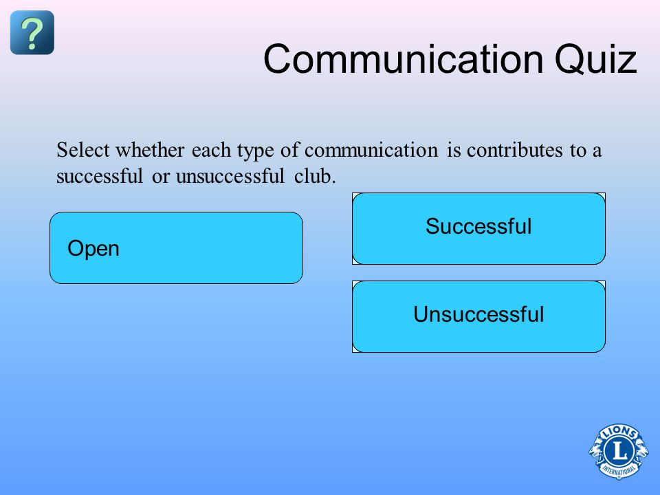 Communication Quiz Privileged ProactiveDelayed InformedPrompt Successful Select whether each type of communication is contributes to a successful or unsuccessful club.