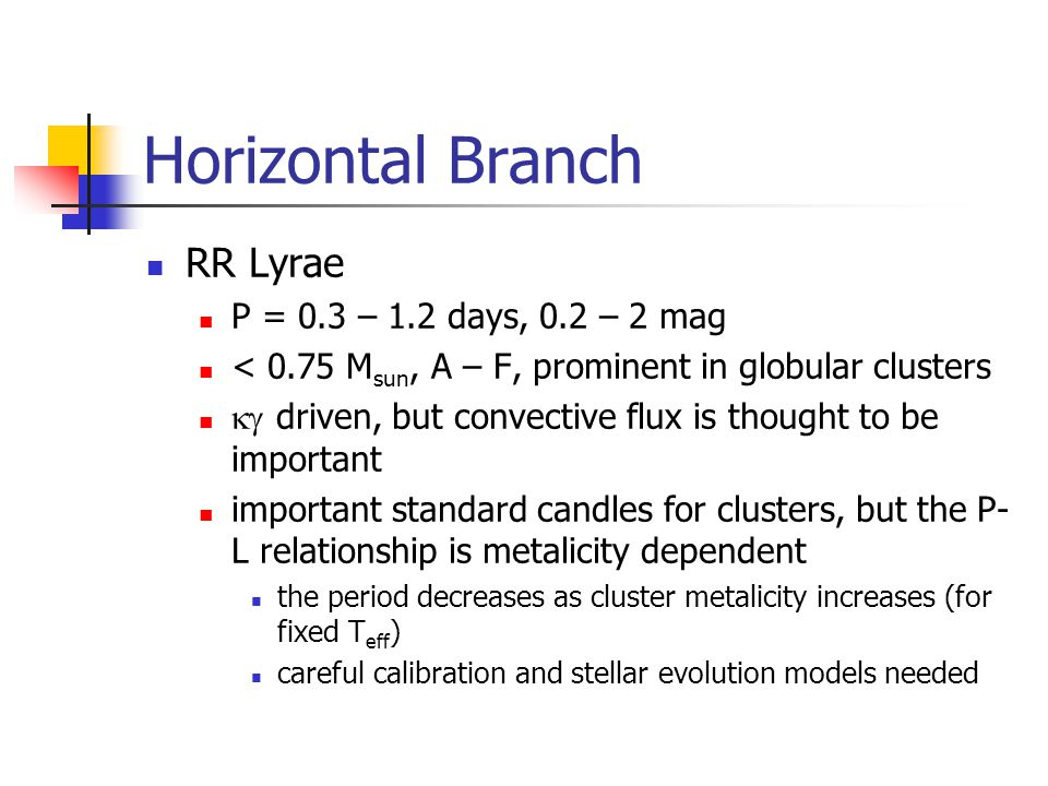 Horizontal Branch RR Lyrae P = 0.3 – 1.2 days, 0.2 – 2 mag < 0.75 M sun, A – F, prominent in globular clusters driven, but convective flux is thought to be important important standard candles for clusters, but the P- L relationship is metalicity dependent the period decreases as cluster metalicity increases (for fixed T eff ) careful calibration and stellar evolution models needed