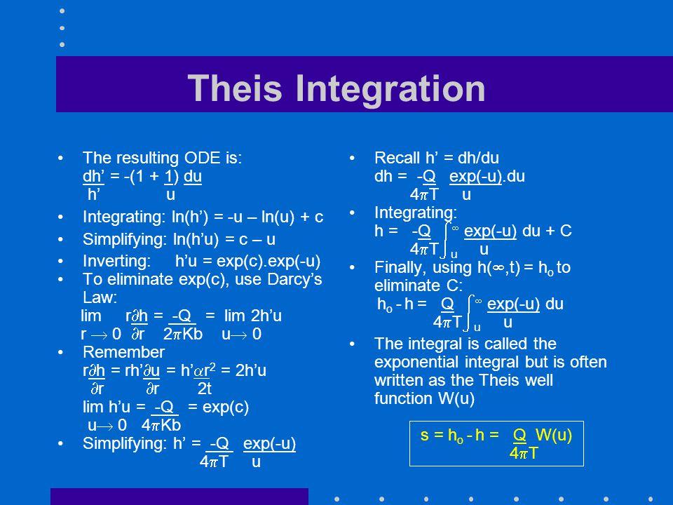 Theis Integration The resulting ODE is: dh = -(1 + 1) du h u Integrating: ln(h) = -u – ln(u) + c Simplifying: ln(hu) = c – u Inverting: hu = exp(c).ex