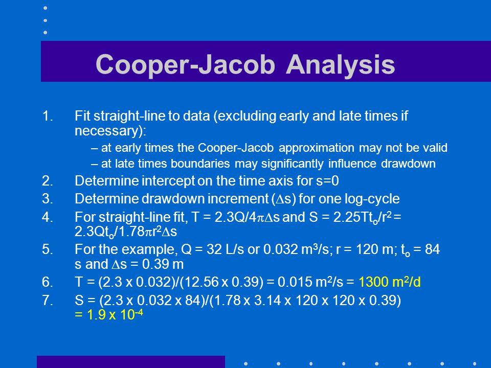 Cooper-Jacob Analysis 1.Fit straight-line to data (excluding early and late times if necessary): – at early times the Cooper-Jacob approximation may n