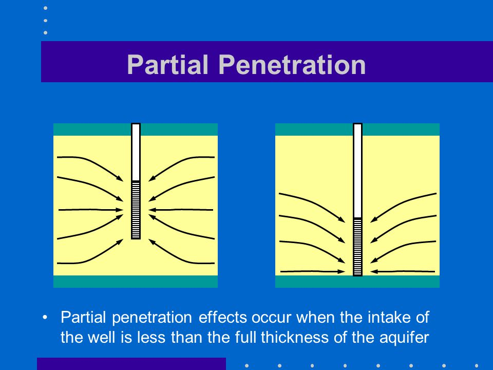 Partial Penetration Partial penetration effects occur when the intake of the well is less than the full thickness of the aquifer