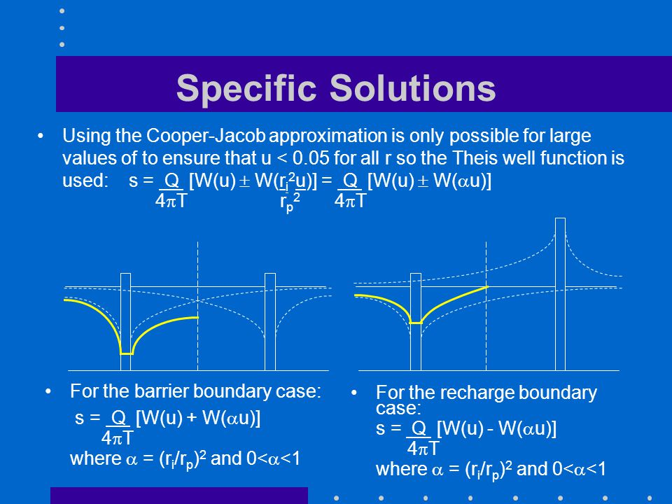 Specific Solutions For the recharge boundary case: s = Q [W(u) - W( u)] 4 T where = (r i /r p ) 2 and 0< <1 Using the Cooper-Jacob approximation is on