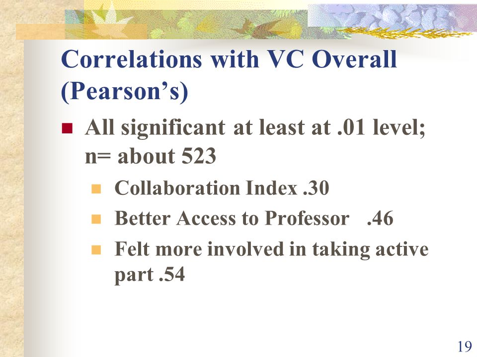 19 Correlations with VC Overall (Pearsons) All significant at least at.01 level; n= about 523 Collaboration Index.30 Better Access to Professor.46 Felt more involved in taking active part.54