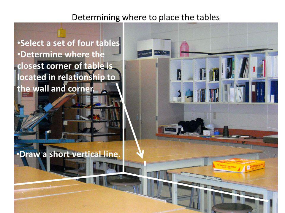 Determining where to place the tables Select a set of four tables Determine where the closest corner of table is located in relationship to the wall and corner.