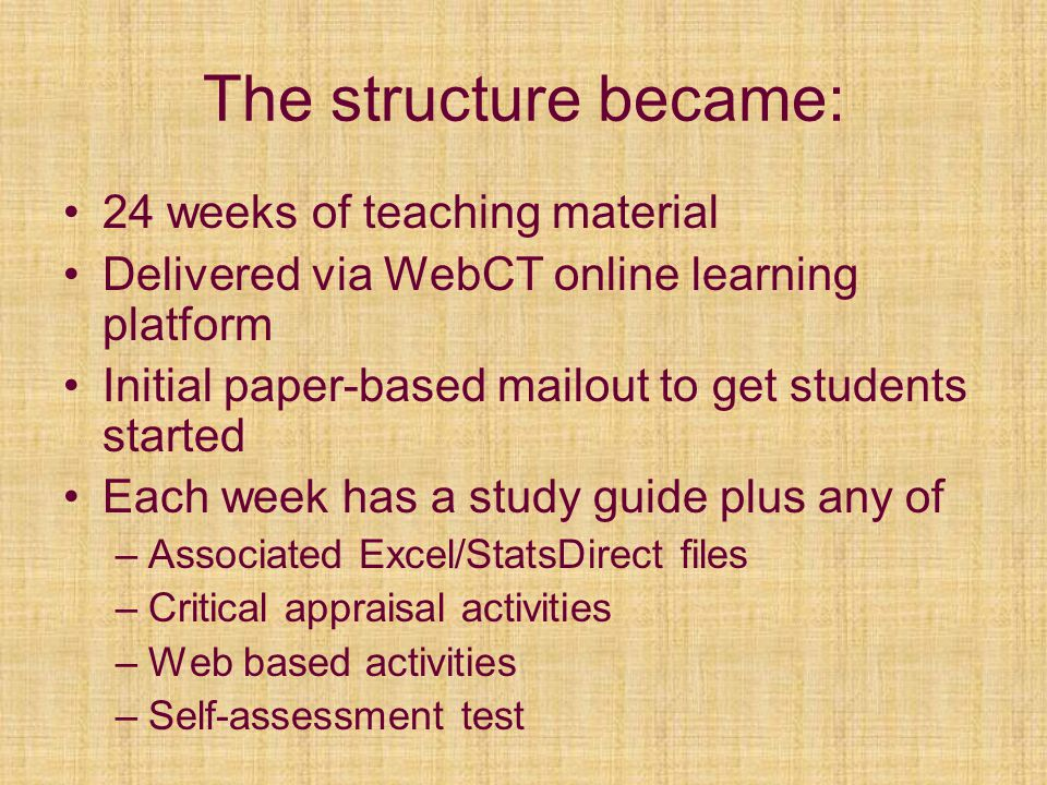 The structure became: 24 weeks of teaching material Delivered via WebCT online learning platform Initial paper-based mailout to get students started E