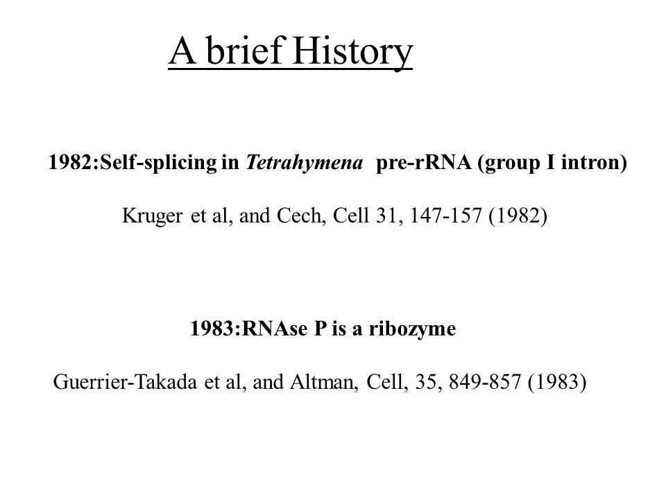 A brief History 1982:Self-splicing in Tetrahymena pre-rRNA (group I intron) Kruger et al, and Cech, Cell 31, 147-157 (1982) 1983:RNAse P is a ribozyme