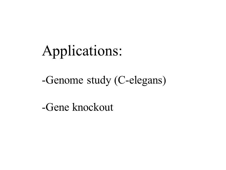 Applications: -Genome study (C-elegans) -Gene knockout