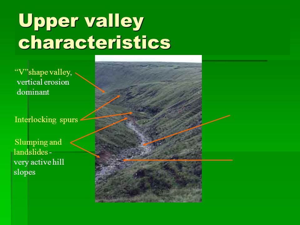 Upper valley characteristics Vshape valley, vertical erosion dominant Interlocking spurs Slumping and landslides - very active hill slopes Narrow, shallow channel, low velocity and discharge