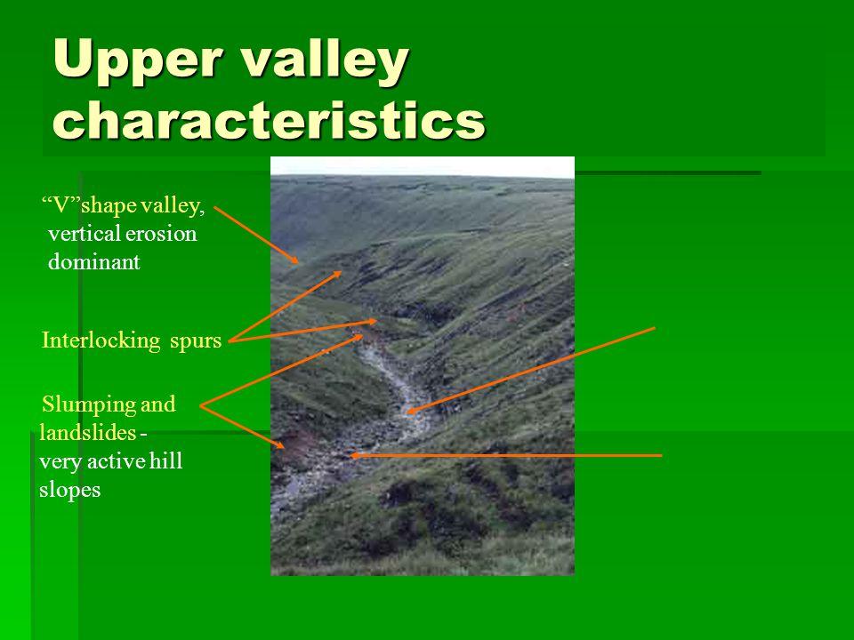 Upper valley characteristics Vshape valley, vertical erosion dominant Interlocking spurs Slumping and landslides - very active hill slopes